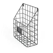Mesh Wire Wall Mount Hanging File Folder Mail Organizer Document Storage Magazine Rack Black
