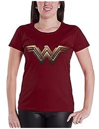 Wonder Woman T Shirt Wonder Woman Logo new Official Womens Burgundy Skinny Fit