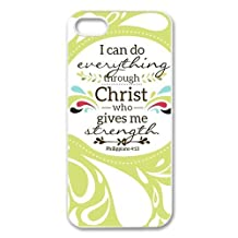 diycover iPhone 5 5S Case - Christian Theme - Bible Verse Philippians 4:13 - Durable and lightweight Cover Case