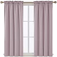 Deconovo Rod Pocket Curtains Blackout Curtains Thermal Insulated Room Darkening Curtains 2 Panels 52Inch