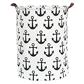 Large Storage Bin-Cotton storage Basket-Round Gift Basket with Handles for Toys,Laundry,Baby Nursery(Anchor)