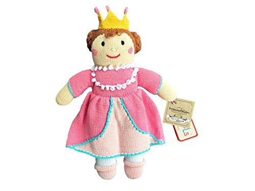 Pretty Princess Knit Stuffed Animal: Handmade- 100% Cotton, Eco-Friendly and Non Toxic Dyes: Kids and Baby Toy, Natural and Vegan Stuffed Toy