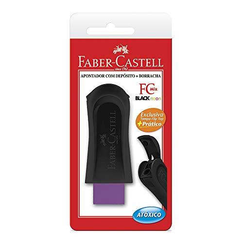 Apontador com Borracha, Faber-Castell, Mix 4 Cores Sortidas Black Neon