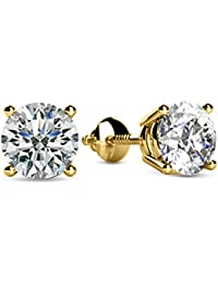 1/4-2 Carat Total Weight Round Diamond Stud Earrings 4 Prong Screw Back (D-E Color VS1-VS2 Clarity)
