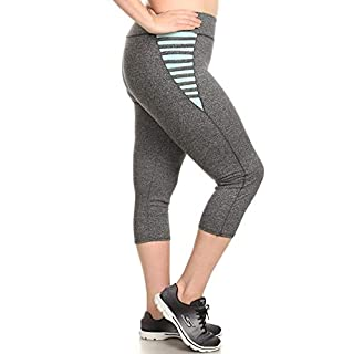 ShoSho Womens Plus Size Activewear Sports Leggings Pants Sports Capris with Hip Strap Detail Dark Heather Grey/Mint 1X