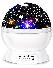 Luz noturna de estrelas, projetor de estrela giratória de 360 graus, lâmpada de mesa 4 LEDs 8 cores que mudam com cabo USB, o melhor para decoração de quarto de bebê e festa - branco