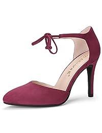 Allegra K Women's Pointed Toe Ankle Tie Stiletto High Heel Pumps