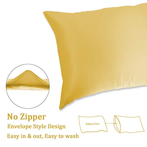 Muama 2 Pack Silk Silky Satin Pillowcases for Hair and Skin, Cool,and Breathable Envelope Closure Pillow Cases Cover【King(20x36 Gold】
