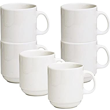 Ceramic Stackable Diner Coffee and Tea Mugs with Dish-pan Scraper, 12 Ounce, Set of 6, Ivory