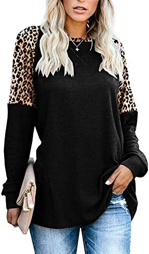 Magritta Women's Casual Color Block Tops Crew Neck Sweater Long Sleeve Tunic Loose Blouses
