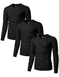 Mens Casual Long Sleeve V-neck T-Shirts Premium Soft Cotton Fabric