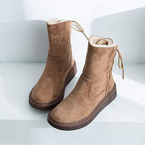 Bottes de Neige ZY et FC, Bottes veloutées, en Bottes Moyennes, Chaussures Chaudes en veloutées, Coton étudiant à Semelle épaisse Thirty-five|Khaki 5d10b6