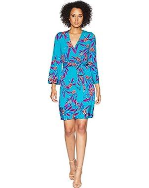 Womens Floral Print Faux Wrap Dress CD8A37PJ