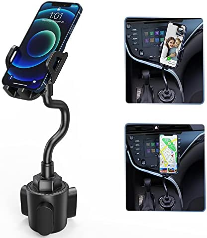 Cup Holder Phone Mount, Semi-Automatic Anti-Shake Stabilizer, 360 Degree Rotation Dashboard, Universal Adjustable Gooseneck, Compatible iPhone 12 11 pro/11 pro max/XS/XR/X/8/7,Galaxy, Moto and More