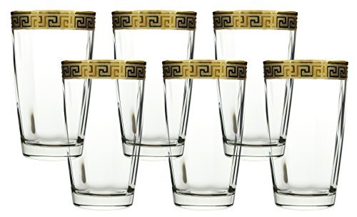 Water Glass 16 OZ. Cup Highball Yellow Gold Versace Design 6 Piece Set, Made in - Made In Versace