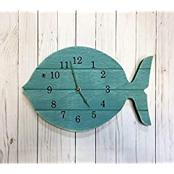 Painted Fish Clock - 15 wide wall clock - lake house decor clock - beach house clock