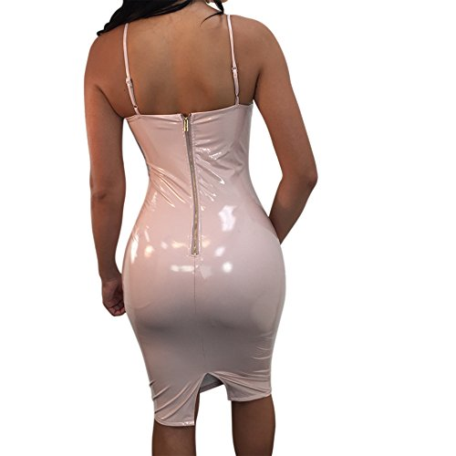 Wet MS Mouse Bodycon Club Pink Womens Sexy Straps Midi Dresses Shiny V Look Neck f0gqfr