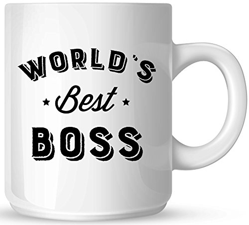 World's Best Boss - 11oz Ceramic Coffee Mug - White Mug - Black One-Sided Print - Gloss Finish (Boss Mug 1)