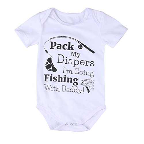 Price comparison product image Infant Baby Boy Girl Fishing Romper Jumpsuit Bodysuit Outfits Sunsuit One-pieces(0-6 months,  white)