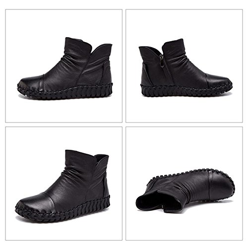 Female Boots Handmade Sewing Retro Short Thicker Plush Leather Zipper Flat Heel Warm Casual Shoes BLACK-37 gBb81