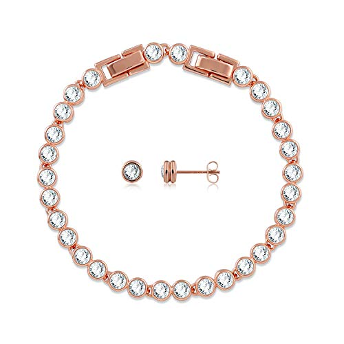 GEORGE · SMITH Adjustable Classic Jewelry Set 925 Sterling Silver Tennis Bracelets Stud Earrings Sets with Swarovski Crystals, for Women Hypoallergenic Rose Gold