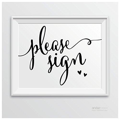 Andaz Press Wedding Party Signs, Formal Black and White, 8.5-inch x 11-inch, Please Sign, 1-Pack