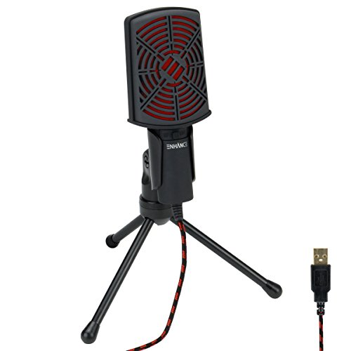 ENHANCE USB Condenser Microphone Gaming Mic - Computer Desktop Mic for Streaming & Recording with Adjustable Stand and Mute Switch - for Skype, Conference Calls, Twitch, YouTube, and Discord - Red