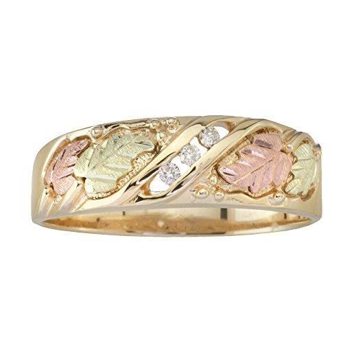 Black Hills Gold Three Stone Mens Diamond Wedding Ring (.06 tw) in 10k Gold Black Hills Diamond Mens Bands