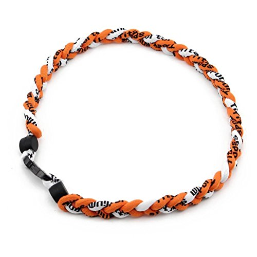 Tinksky Sport Titanium Necklace Ionic Braided Rope for Baseball Softball Soccer (Orange)