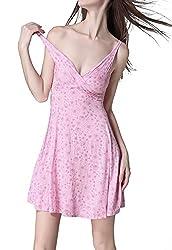 Ms Demon Nightgown Sleeveless Ice Cotton V-neck Print Soft Sundress Sleepdress House Wear (One Size Fits 2-14/XS-L, Violet)