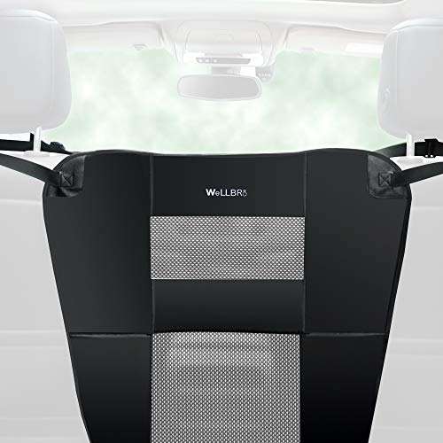 Wellbro Dog Car Backseat Barrier, Padded and Durable Nylon Net Pet Barrier, Vehicle Travel Dog Fence with 2 Mesh Windows, for Safe Driving, Easy to Install and Adjust for All Cars, 24 x 24