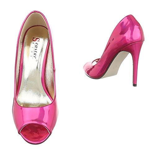 Ital-Design High Heel Pumps Damenschuhe High Heel Pumps Pfennig-/Stilettoabsatz High Heels Pumps Pink