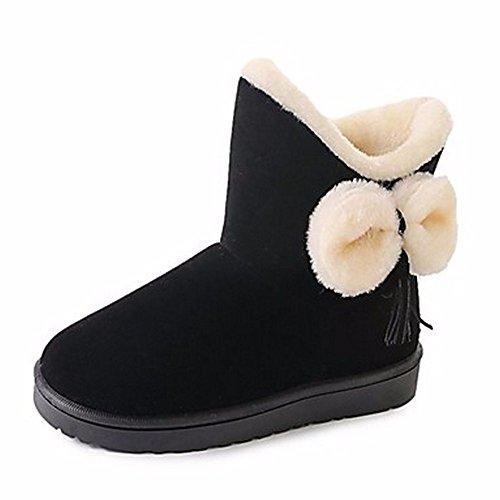 Rouge Femmes Bout Bowknot Cn39 Noir Mid Chaussures D'Hiver Bottes Us8 Black Bottes Calf Eu39 Gris Uk6 Rond Bottes ZHUDJ Occasionnels Neige Pour EwOSq88Fn