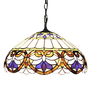 Tiffany Glass Pendent Lights with 2 Lights in Heart Pattern