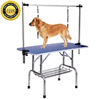 Gelinzon Upgraded Pet Grooming Table Portable Heavy Duty with Arm Noose & Mesh Tray, Adjustable Folable Pet Groom Table Stand for Dog Cat, Maxium Capacity Up to 330 LBS