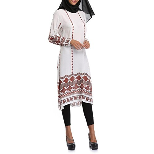 VIASA Muslim Women Islamic Printing Long Sleeves Plus Size Middle East Long Dress (M, White) (Holiday Ornament Bicycle)