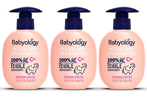 Babyology - 100% Edible Ingredients - Baby Wash & Shampoo - Non-scented (Organic Rose Water) - Clinically Tested - Tear-Free - 6,67 FL. OZ - Perfect Baby Shower Gift (3 Pack)