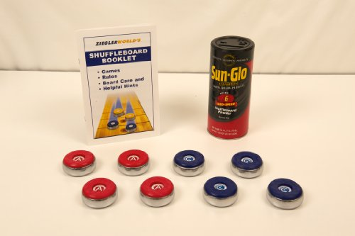 American Brand Medium Table Shuffleboard Puck Weights With Wax and Rule and Regulation Book