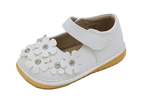 Little Mae's Boutique Squeaky Shoes | White Crystal Flowers Mary Jane Toddler Girl Shoes (5)
