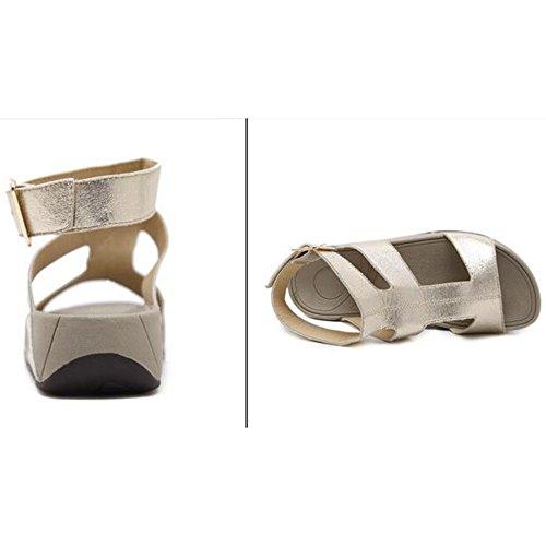 En De De Imitación Ligeras De Slip Verano Sandalias Mujer con De Cordones Cuero De Bajas para Y Gold Mula Cuña pd16dwx