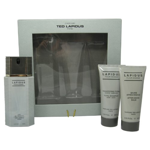 Ted Lapidus 3 Piece Gift Set (Eau De Toilette Spray 3.33 Oz & Aftershave Balm 3.33 Oz & All Over Shampoo 3.33 Oz) for Men, 3.33 fl. Oz. LA38M