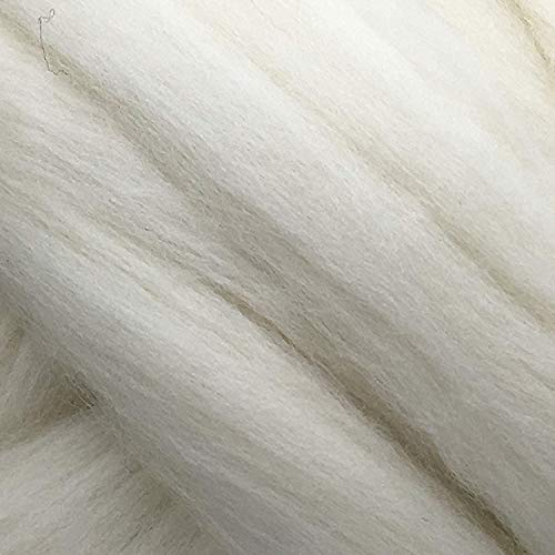 1lb Pound Natural White Wool Combed Top/Roving Fiber for Felting, Spinning Made in USA ()