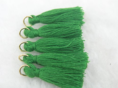 "50pcs Kelly Green Silky Handmade Tiny(1.4"") Soft Tassels, Mini Tassels, Earring Tassels with Golden Jump Ring"