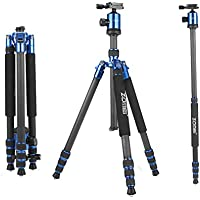 ZOMEi Z818C Carbon Fiber Camera Tripods For Digital DSLR Cameras With Quick Release Plate and Ball Head (Blue)