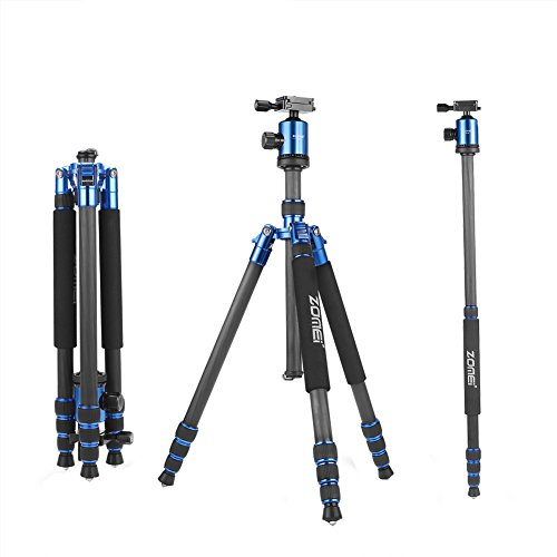 ZOMEi Z818C Carbon Fiber Camera Tripods For Digital DSLR Cameras With Quick Release Plate and Ball Head (Blue) by ZOMEI