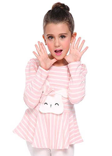 Arshiner Girls 100% Cotton Long Sleeve Striped Cute Rabbit Ruffled Pullover Top Tee,Pink,120(6-7years (Girls Pink Ruffled Top)