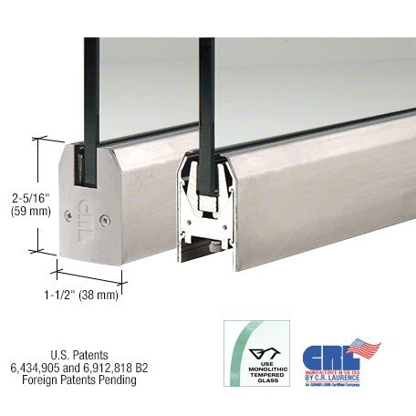 Brushed Stainless Low Profile Tapered Door Rail Without Lock - 8'' Patch