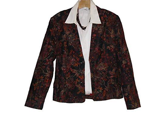 (Coldwater Creek Women's Church Office Business Work Plaid Floral Jacket Plus W18)
