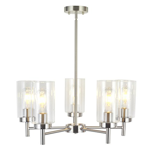 VINLUZ Contemporary 5 Light Large Chandeliers Modern Clear Glass Shades Pendant Lighting Brushed Polished Nickel Dining Room Lighting Fixtures Hanging Adjustable Wire Semi Flush Ceiling Lights