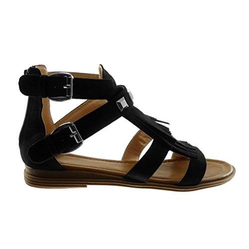 2 Femme Noir Angkorly Sandale Spartiates Frange Boucle Chaussure Talon Cm Bloc Clouté Mode wpapqvnI